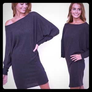 - Dolman sleeves one shoulder dress ( charcoal)